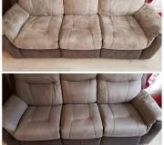 Трехместный диван перед после чистки